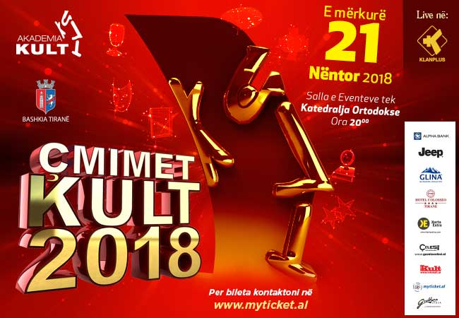Mbrëmja Gala Çmimet KULT 2018, sot ora 20:00 në Klan Plus