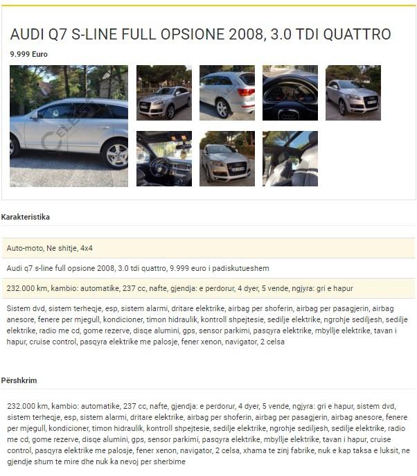shembull shitje makine njoftim