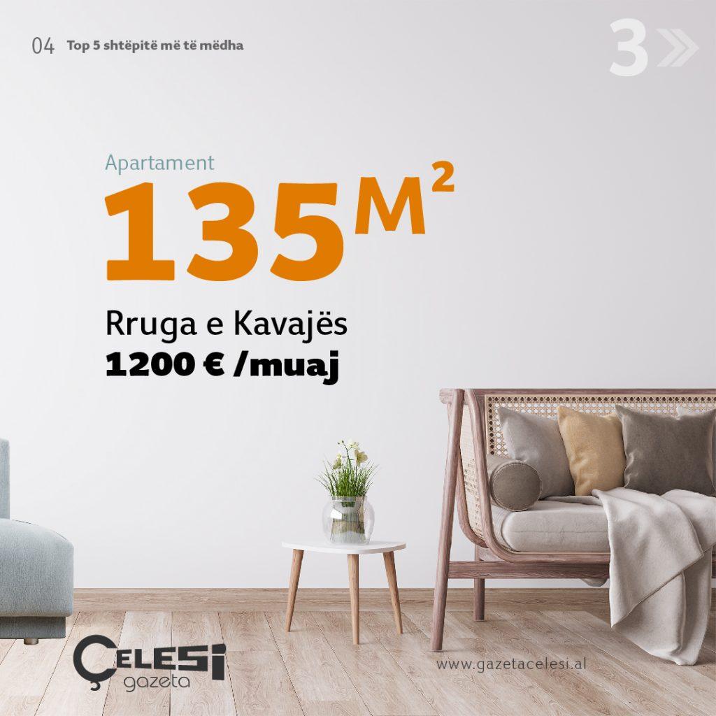 apartament me qera 135m2 Rruga e Kavajës 5 shtëpitë më të mëdha