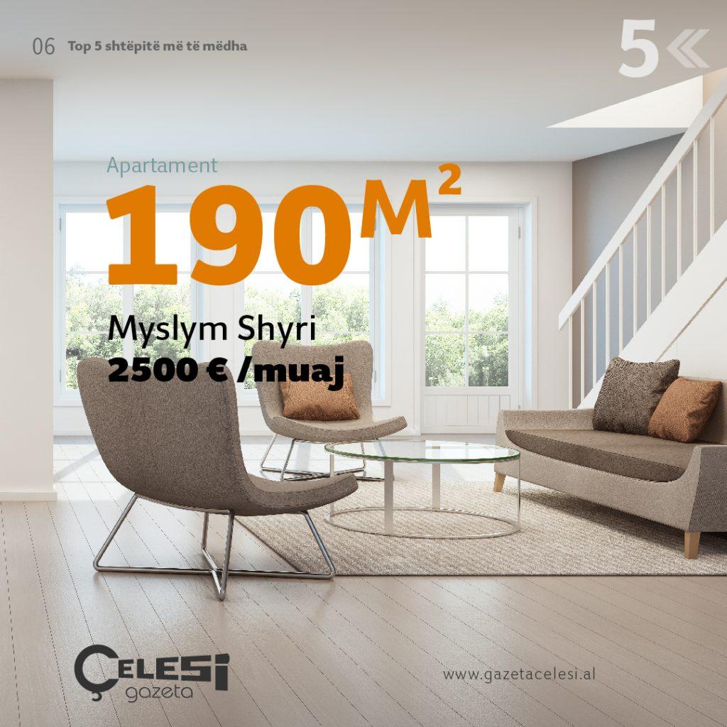 Apartament 190m2 te Myslym Shyri, 2500 Euro në muaj 5 shtëpitë më të mëdha