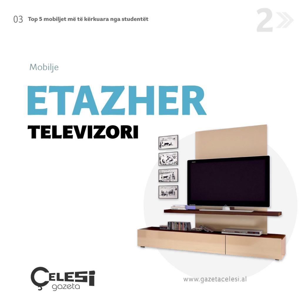 Etazher televizori I madh, me sergjena mobilje per studentët