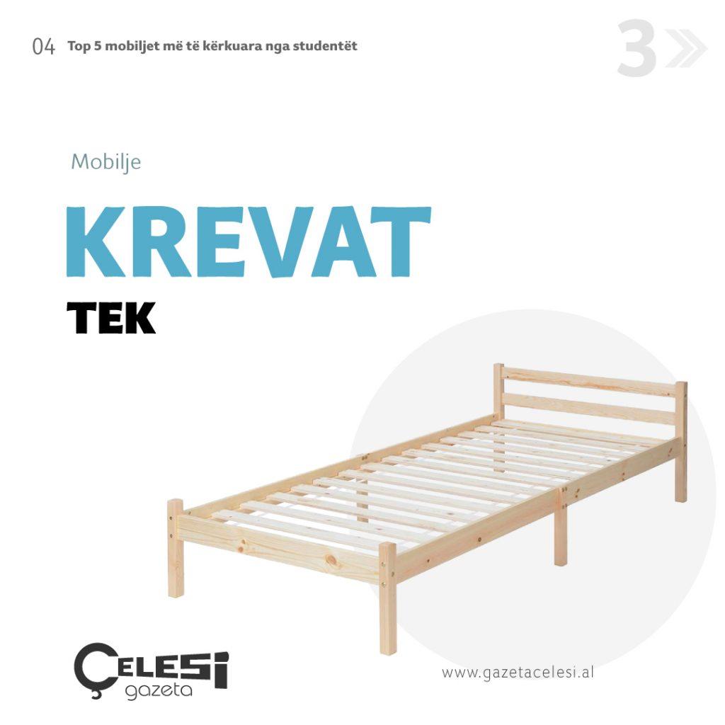 Krevat tek druri, me ristela mobilje per studentët